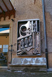 Birth machine sculpture in front of Giger Museum in Gruyeres Stock Photos