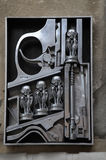 Birth machine sculpture by H.R. Giger in front of H.R. Giger Mus Stock Photos