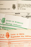 Birth, marriage and death certificates Stock Photography