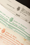 Birth, marriage and death certificates Royalty Free Stock Photos