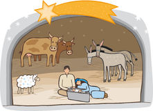 Birth of Messiah. Birth of Jesus in a stable with animals around Royalty Free Stock Photo