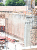 Birth of a new building. Reinforced concrete in a dockyard stock photos