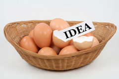Birth of A New Idea. A new idea hatches out of an eggshell Royalty Free Stock Photos