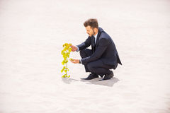 The birth of new life. Confident young man in formalwear examining plant growing out of sand royalty free stock photography