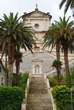 Birth of Our Lady church. In town Prcanj, Montenegro stock image