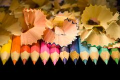 Birth of pencils. In it the photo are visible all primary colours (red, yellow, orange, dark blue, violet, green Stock Image