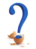 Birth of a Question. A blue question mark sign hatching from a brown egg Royalty Free Stock Image