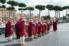 Birth Of Rome Festival 2015. ROME, ITALY - APRIL 19, 2015: Birth of Rome festival - Actors dressed as ancient Roman Praetorian soldiers attend a parade to Royalty Free Stock Images