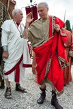 Birth Of Rome Festival 2015. ROME, ITALY - APRIL 19, 2015: Birth of Rome festival - Actors dressed as ancient Roman Praetorian soldiers attend a parade to Royalty Free Stock Photography