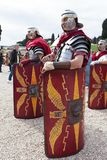 Birth Of Rome Festival 2015. ROME, ITALY - APRIL 19, 2015: Birth of Rome festival - Actors dressed as ancient Roman Praetorian soldiers attend a parade to Stock Photography