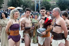 Birth Of Rome Festival 2015. ROME, ITALY - APRIL 19, 2015: Birth of Rome festival - Actors dressed as ancient Roman Praetorian soldiers attend a parade to Stock Image