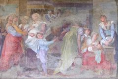 Birth of San Dominic, fresco in Santa Maria Novella church in Florence. Birth of San Dominic, fresco by Bernardiao Poccetti in the cloister of Santa Maria royalty free stock images