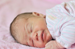 After birth. Tiny newborn just after birth royalty free stock photos