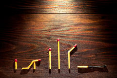 From birth to death, life concept, line of matches. Line of matches, from birth to death, life concept Stock Image