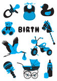 Birth. A two-tone silhouette of babies stuff Stock Images