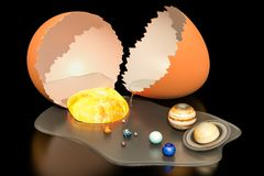 Birth of the Universe from egg concept, 3D rendering vector illustration