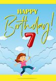 Birthcard card with girl and balloon number seven Stockfotos