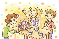 Birthday. Happy birthday; boys and girl; cake Stock Photo