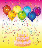 Birthday. Vector graphics. Illustration to the theme of the day of birth. Seven-color balloons on the cake Royalty Free Stock Photo