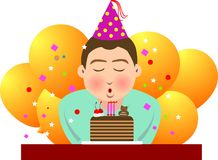 Birthday. Illustration, vector for a boy blowing candles in his birthday Royalty Free Stock Photo