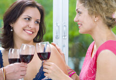 Birthday. Portrait of young happy attractive people having some wine Stock Photo