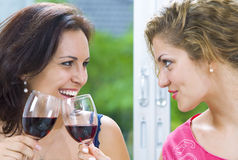 For birthday. Portrait of young happy attractive people having some wine Royalty Free Stock Image