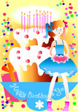 Birthday. This is the Congratulation happy birthday for the young girl Stock Images
