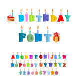 Birthday ABC. holiday font for postcards. letters and candles. C Royalty Free Stock Images