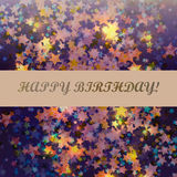 Birthday abstract star background card. Birthday abstract background card with star, inscription, vector illustration Stock Image