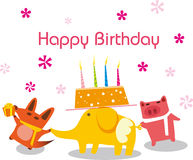 Birthday animals Stock Image