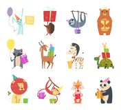 Birthday animals. Holiday happy celebration hare hedgehog bear zebra turtle lion and monkey festive gifts vector cartoon royalty free illustration