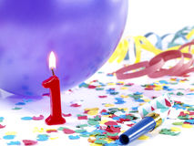 Birthday-anniversary candles Nr. 1. Party composition with birthday-anniversary candles showing Nr. 1 Royalty Free Stock Photography