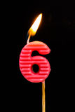 Birthday-anniversary candles  Number. 6 Stock Image