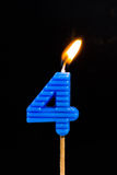 Birthday-anniversary candles  Number. 4 Stock Photos