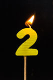 Birthday-anniversary candles  Number. 2 Stock Image