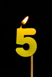 Birthday-anniversary candles  Number. 5 Royalty Free Stock Photo