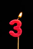 Birthday-anniversary candles  Number. 3 Royalty Free Stock Photography