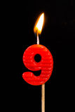 Birthday-anniversary candles  Number. 9 Stock Image
