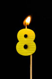 Birthday-anniversary candles  Number. 8 Royalty Free Stock Photography