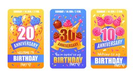 Birthday Anniversary Cards Banners. Birthday party anniversary celebration 3 festive invitation cards banners collection with numbers confetti cakes balloons vector illustration