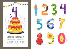 Birthday anniversary cartoon numbers and invitation card template set. Cute characters of numerals isolated on white background and b-day banner with cake royalty free illustration