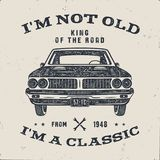 70 Birthday Anniversary Gift brochure. I m not Old I m a Classic, King of the Road words with classic car. Born in 1948. Distressed retro style poster, tee vector illustration