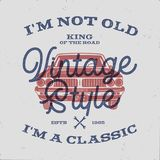 70 Birthday Anniversary Gift T-Shirt. I m not Old I m a Classic, King of the Road words with classic car. Born in 1948. Distressed retro style poster, tee vector illustration