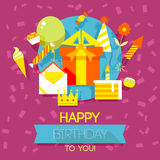 Birthday, anniversary, jubilee party invitation card, postcard design. Stock Photo