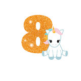 Birthday anniversary number with cute unicorn. Gold glittering number eight. Birthday anniversary number with cute unicorn. Birthday template with unicorn for Stock Image