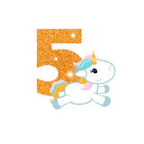 Birthday anniversary number with cute unicorn. Gold glittering number five. Birthday anniversary number with cute unicorn. Birthday template with unicorn for Royalty Free Stock Photography