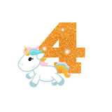 Birthday anniversary number with cute unicorn. Gold glittering number four. Birthday anniversary number with cute unicorn. Birthday template with unicorn for Royalty Free Stock Images