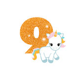 Birthday anniversary number with cute unicorn. Gold glittering number nine. Birthday anniversary number with cute unicorn. Birthday template with unicorn for Stock Images