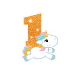 Birthday anniversary number with cute unicorn. Gold glittering number one. Birthday anniversary number with cute unicorn. Birthday template with unicorn for Stock Photo