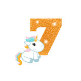 Birthday anniversary number with cute unicorn. Gold glittering number seven. Birthday anniversary number with cute unicorn. Birthday template with unicorn for Royalty Free Stock Image